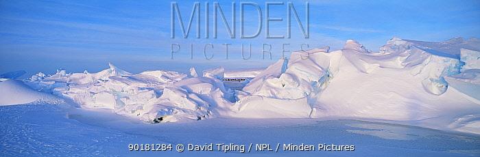 Antarctic snowy landcape with Emperor penguin colony Weddell sea Dawson-Lambton glacier  -  David Tipling/ npl