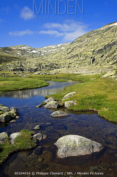 Mountain stream with snow covered mountains, Sierra de Gredos, Spain  -  Philippe Clement/ npl