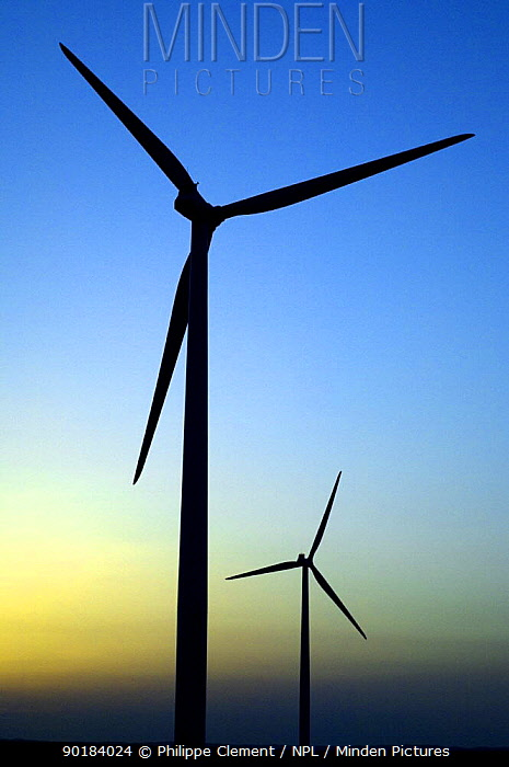 Wind farm turbines against evening sky, Los Monegros, Spain  -  Philippe Clement/ npl