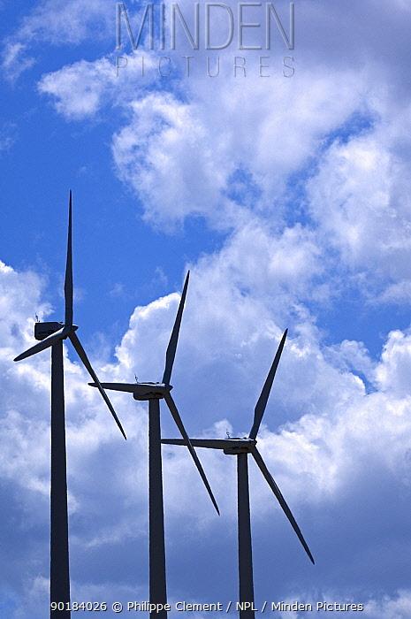 Wind farm turbines against cloudy sky, Los Monegros, Spain  -  Philippe Clement/ npl