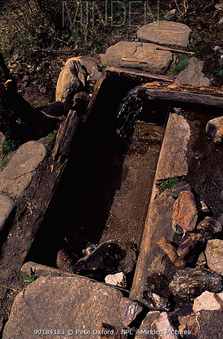 Traditional stone bath, Paro valley, Bhutan Bath would have been filled by diverting the flow of river and then adding heated rocks2001  -  Pete Oxford/ npl