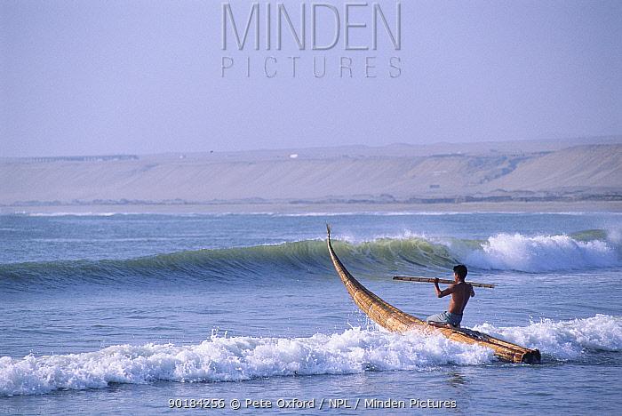 Traditional fishing boat, Caballitos de Tortora, Huanchaco, Trujillo, Peru  -  Pete Oxford/ npl
