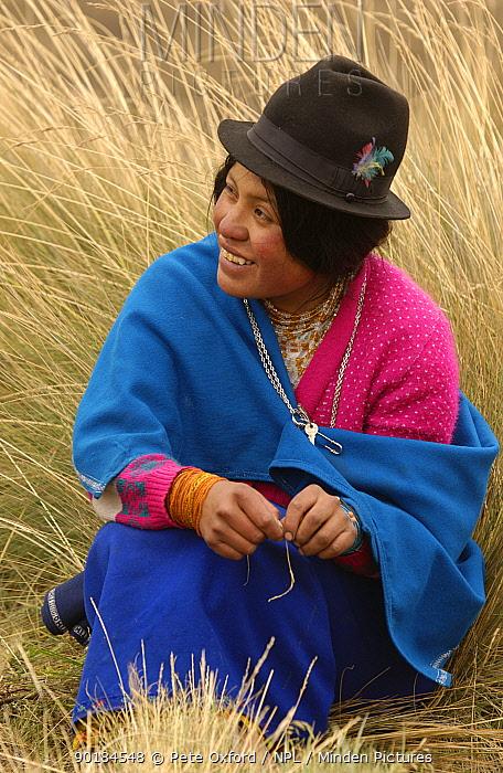 Quichua indian shepherd woman watching Alpaca herd, Chimborazo, Andes, Ecuador 2004  -  Pete Oxford/ npl