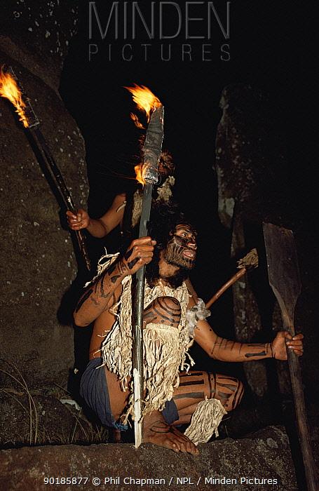 Easter Islanders dressed as warriors from the civil war  -  Phil Chapman/ npl
