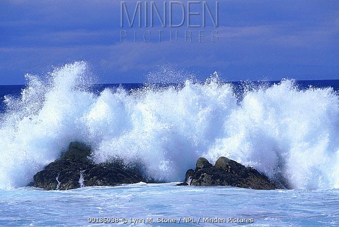 Monterey Bay, California Waves crashing against rocks  -  Lynn M. Stone/ npl