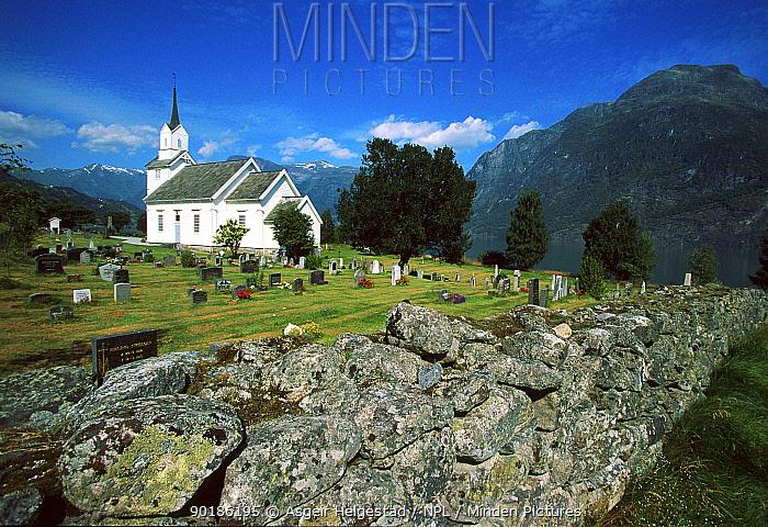 Church in mountains, Oppstryn, Stryn, Sognefjorden, Norway  -  Asgeir Helgestad/ npl