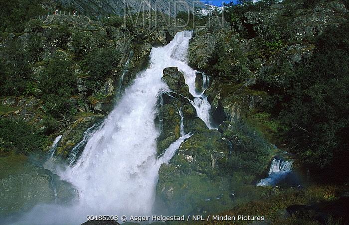 Mountain stream flowing from Briksdal glacier, Jostedalsbreen NP, Sogn og Fjordane, Norway  -  Asgeir Helgestad/ npl