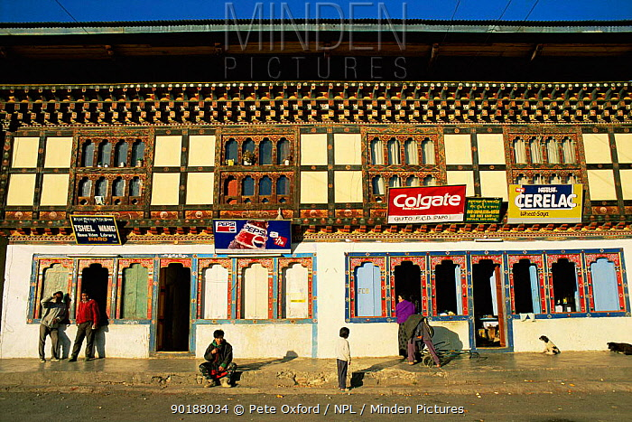 Paro village street with shops, Paro valley, Bhutan 2001  -  Pete Oxford/ npl