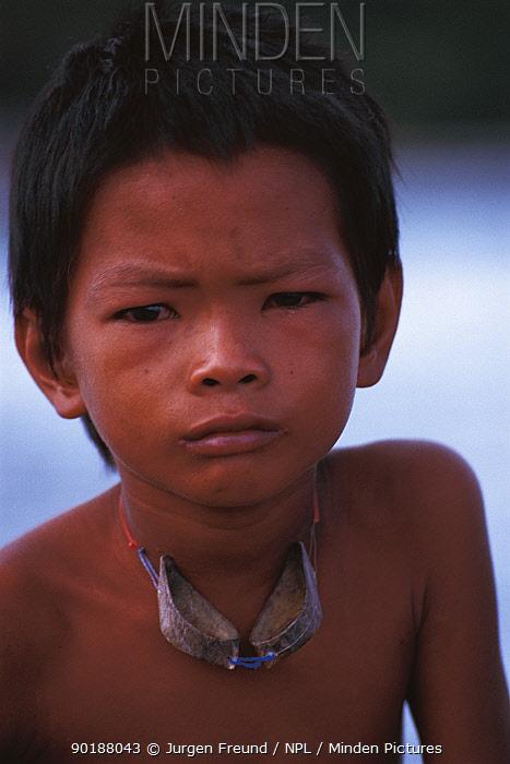 Bajau boy portrait Malaysia Nomadic tribe of fishermen, 2000  -  Jurgen Freund/ npl