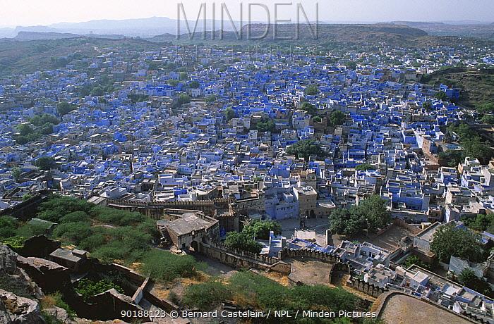 Looking down on Blue city of Jodhpur, viewed from Meherangarh Fort, Rajasthan, India  -  Bernard Castelein/ npl