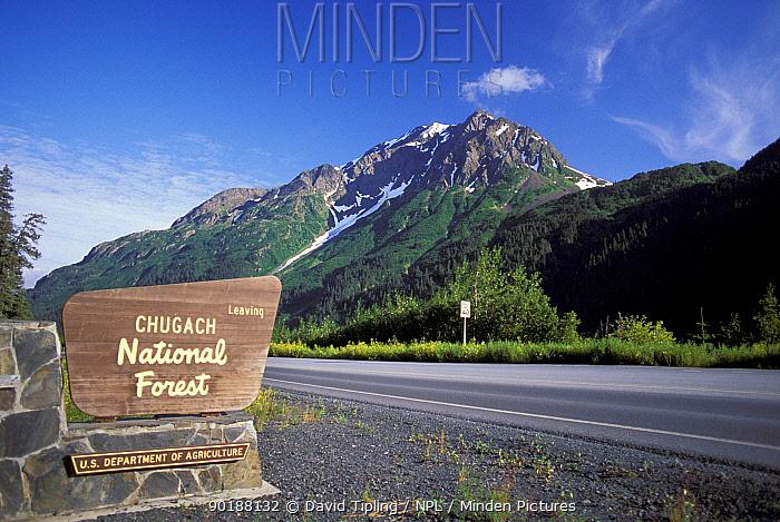 Chugach National Park entrance and sign, Kenai Peninsula, Alaska USA  -  David Tipling/ npl