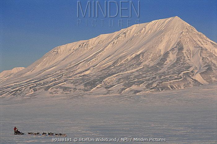 Dogsledding ecotourism, Svalbard, Spitzbergen, Norway  -  Staffan Widstrand/ npl