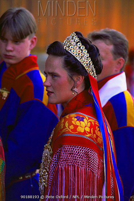 Sami bride at traditional Sami wedding, Karaskok, Samiland, Lapland, Finnmark, Northern Norway 1997  -  Pete Oxford/ npl
