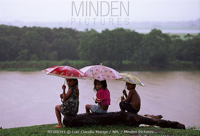 Children shelter from rain under umbellas beside flooded forest, Amazonas, Brazil  -  Luiz Claudio Marigo/ npl