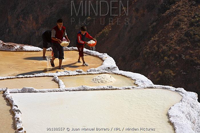 Indian boys working on salt pool, Maras, Peru 2006  -  Juan Manuel Borrero/ npl