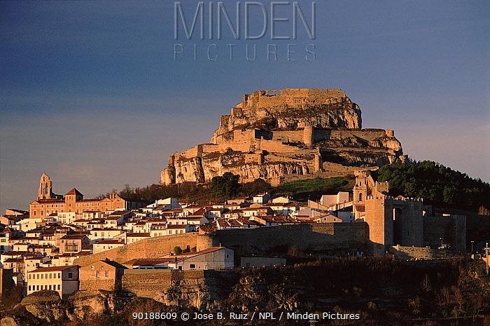 Morella castle and town Iberic origin, Castellon, Spain, Europe  -  Jose B. Ruiz/ npl