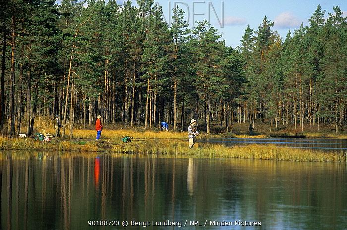 Fishermen fishing in lake, Sweden  -  Bengt Lundberg/ npl