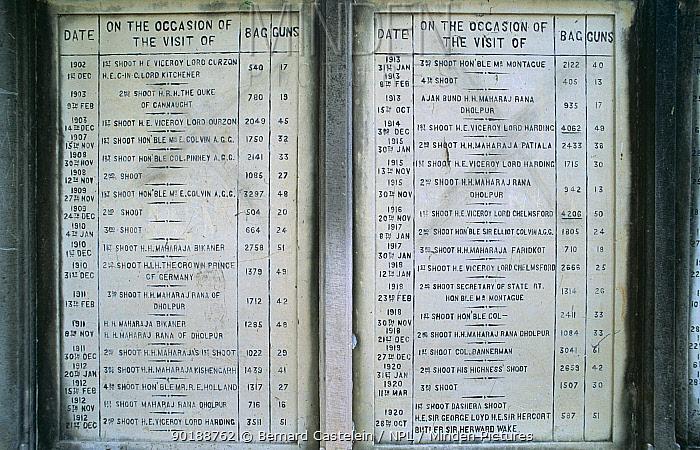 Memorial tablet with hunting records, Keoladeo Ghana NP, Bharatpur, Rajasthan, India  -  Bernard Castelein/ npl