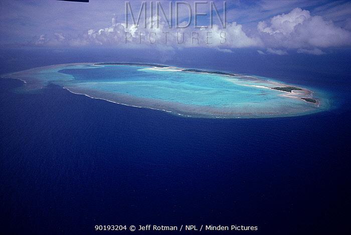 Aerial view Kayanger Atoll, a coral atoll, Palau  -  Jeff Rotman/ npl