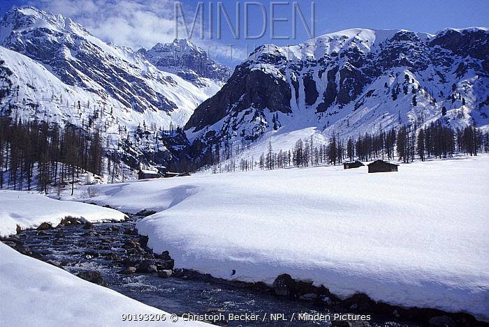 View into Sertig Valley in winter Switzerland, Europe  -  Christoph Becker/ npl
