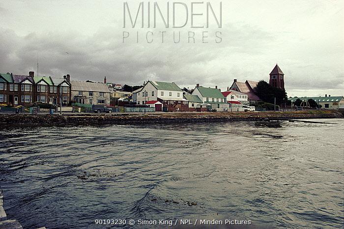 Port Stanley from sea, Falkland Islands  -  Simon King/ npl