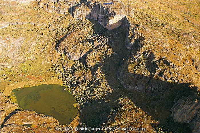 Aerial view of hot springs in the crater of Mount Elgon, West Kenya, 2002  -  Nick Turner/ npl