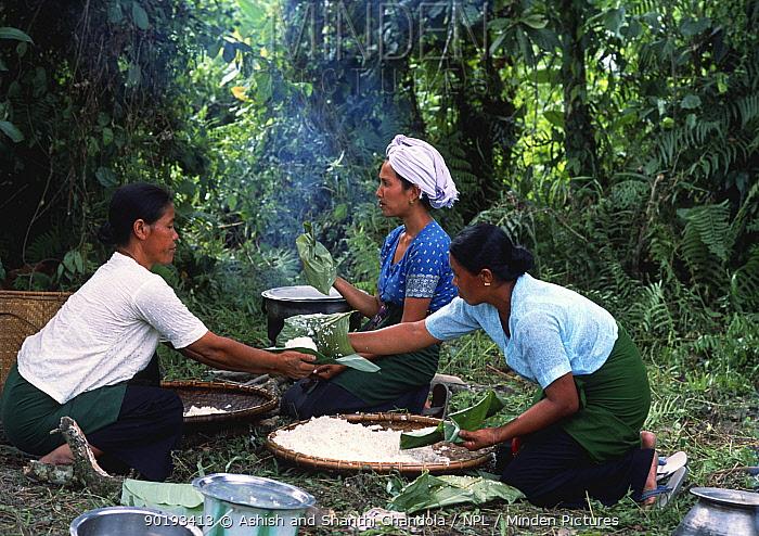 Khamti women prepare a meal, NE India Khamtis are of Burmese origin with a special ability to catch and train elephants  -  Ashish Shanthi Chandola/ npl