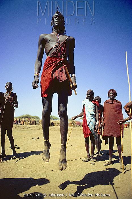 Maasai 'Emowuo-o-lkiteng ceremony, Kedong Valley, Rift valley, Kenya Il-murran dancers 1985  -  Jabruson/ npl