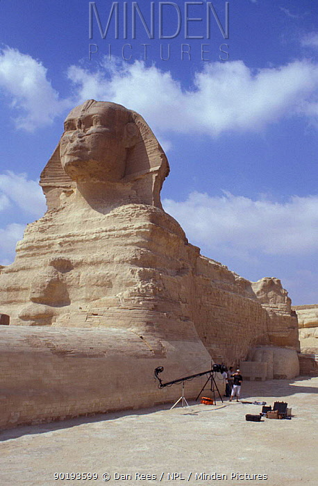 The Sphinx, Cairo, Egypt with BBC NHU film unit  -  Dan Rees/ npl