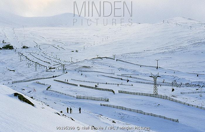 Ski resort with ski lifts, Cairngorms, Scotland  -  Niall Benvie/ npl