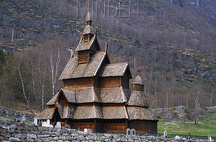 Borgund Stave church Laerdalen, Norway  -  Niall Benvie/ npl