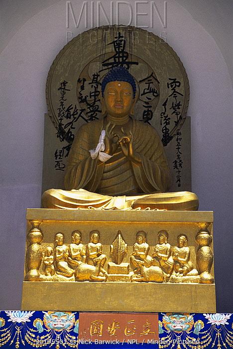 Shanti stupa, Buddhist image depicting andquot;enlightenment of Buddhaandquot;, Leh, Ladakh, North India  -  Nick Barwick/ npl