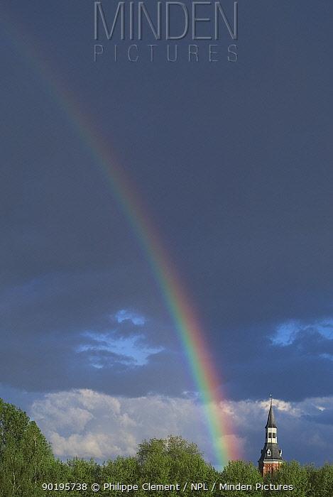 Rainbow above castle, Belgium  -  Philippe Clement/ npl