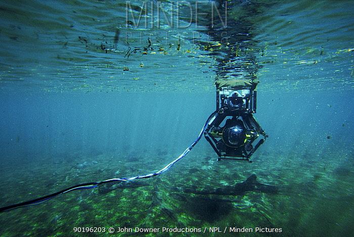 Minisub used to film hippos underwater for BBC tv series 'Supernatural' Mzima, Kenya  -  John Downer/ npl