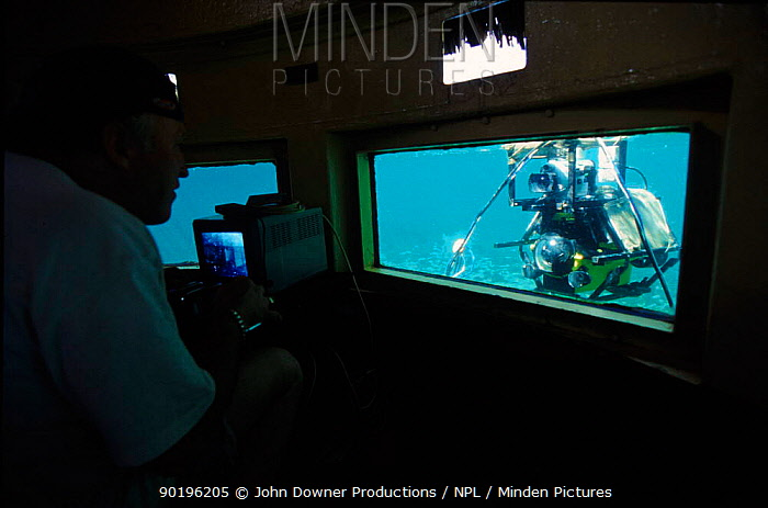 Monitoring minisub used to film hippos underwater for BBC tv series 'Supernatural' Mzima, Kenya  -  John Downer/ npl