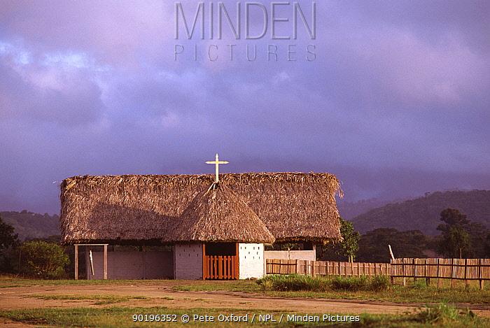 Church in Amerindian village Surama, Guyana  -  Pete Oxford/ npl
