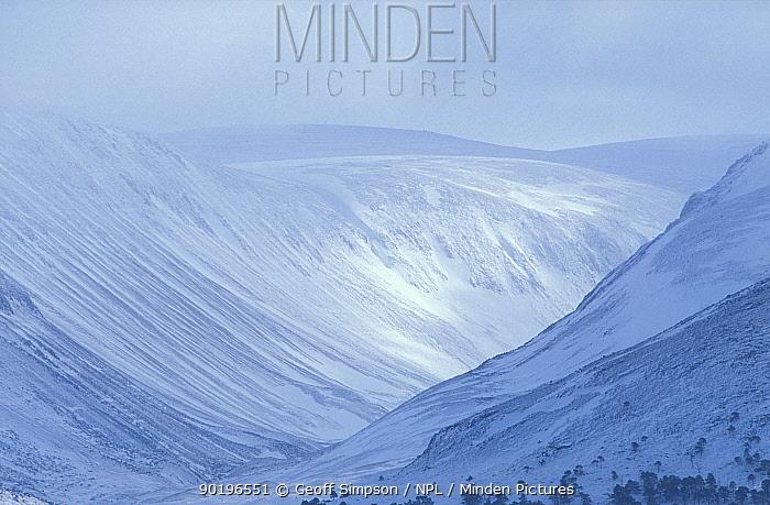 Larig Ghru (valley through the Cairngorms) and Ben MacDui in winter Scotland UK Highlands  -  Geoff Simpson/ npl