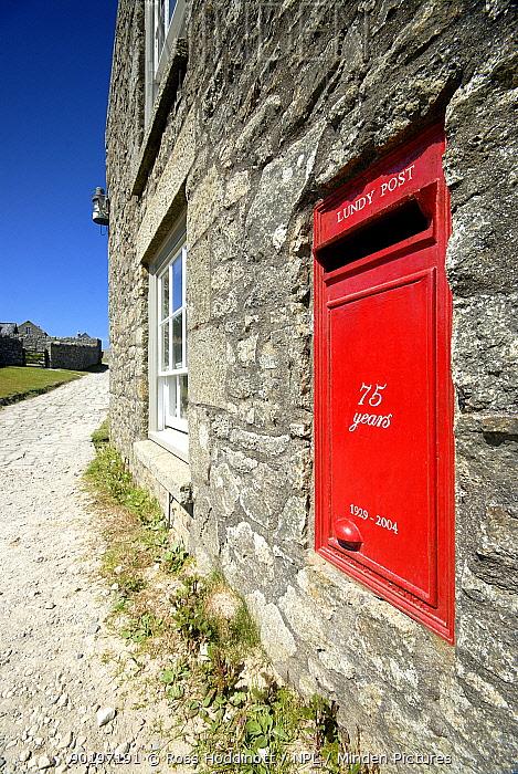Traditional red Postbox on Lundy Island, Devon  -  Ross Hoddinott/ npl