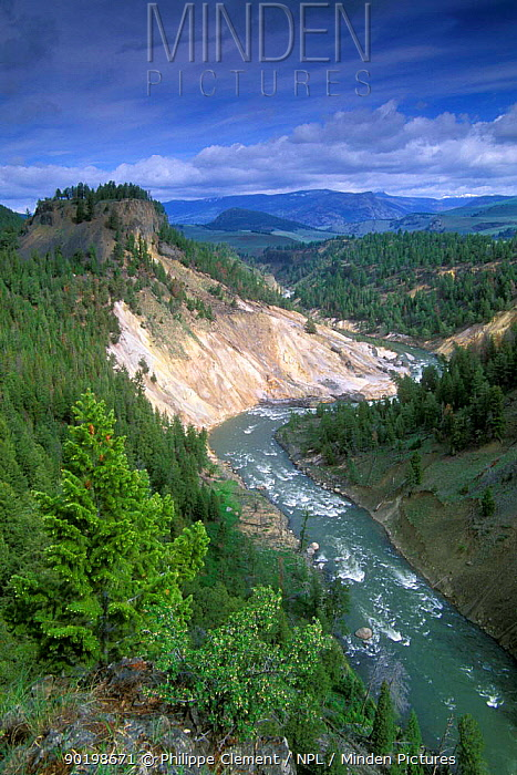 Calcite springs and the Yellowstone river, Yellowstone NP, Wyoming, USA  -  Philippe Clement/ npl