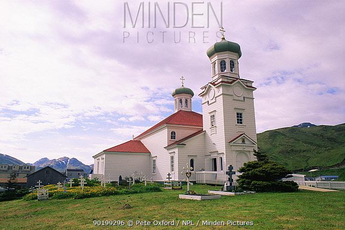 Russian orthodox church, Dutch harbour, Aleutian Island, Alaska, USA  -  Pete Oxford/ npl
