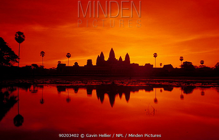 Angkor Wat temple at sunset, Angkor World Heritage Site, Siem Reap, Cambodia  -  Gavin Hellier/ npl