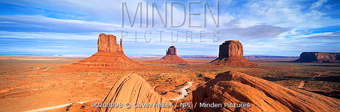 Panoramic view of The Mittens, Monument Valley Navajo Tribal Park, Arizona, USA  -  Gavin Hellier/ npl