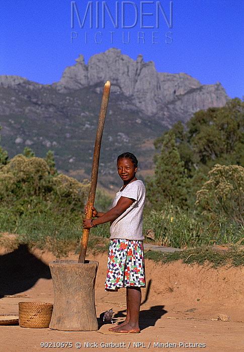 Woman husking rice Antany Fotsy village, Andringitra, Madagascar 2000  -  Nick Garbutt/ npl