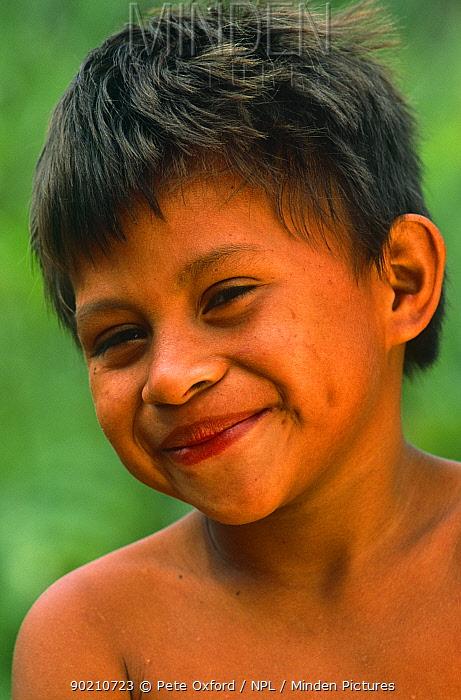 Ese'eja indian child, Sonene community, Heath river, Amazonia, Peru  -  Pete Oxford/ npl