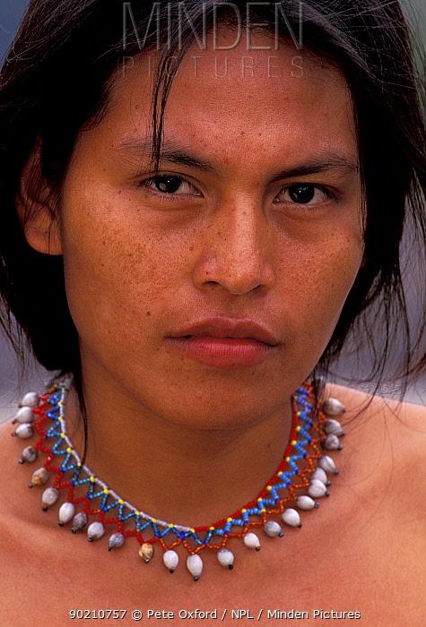 Machiguenga indian portrait Lower Urubamba river, Amazonia, Peru  -  Pete Oxford/ npl