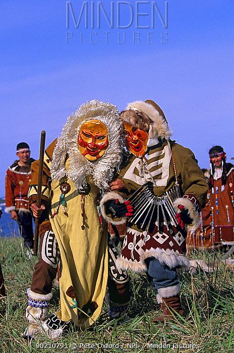 Native Koryak dancers wearing masks, Ossora, Karaginsky, Kamchatka peninsula, Russia  -  Pete Oxford/ npl