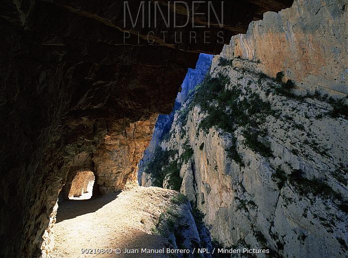 Mount Rebey canyon with path cut through, the Pyrenees, Lerida, Catalonia, Spain, Europe  -  Juan Manuel Borrero/ npl