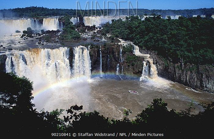 Tourist boat nears Iguazu Falls at Brazil, Argentina, Brazil border, Iguassu  -  Staffan Widstrand/ npl