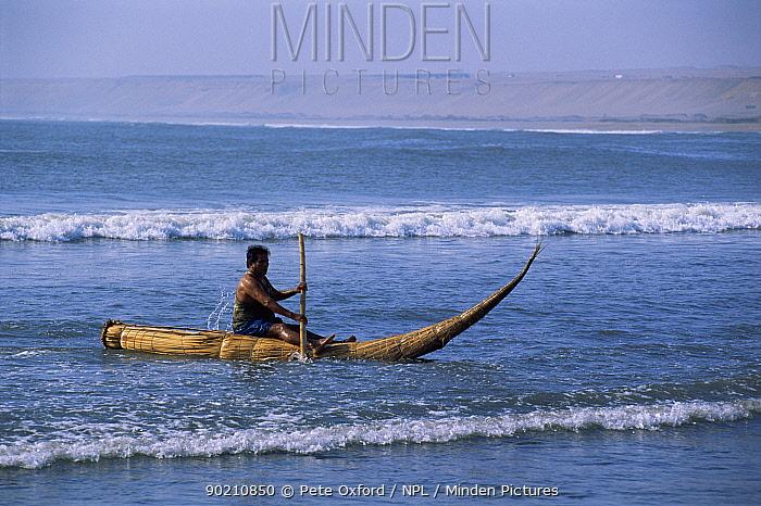 Traditional fishing craft, Caballitos de tortora, Huanchaco Trujillo, Peru  -  Pete Oxford/ npl