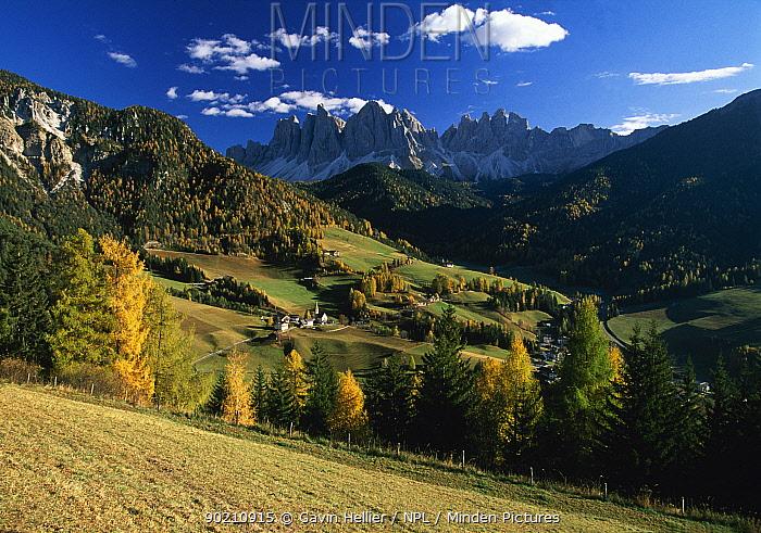 Geisler Gruppe, Geislerspitzen in Autumn, Trentino Alto Adige, The Dolomites Italy, Europe  -  Gavin Hellier/ npl
